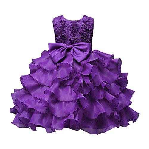 (Mädchen Prinzessin Kleid Sannysis Mädchen Prinzessin Wedding Kleid Kostüm Kinder Baby Mädchen Blume Geburtstag Hochzeit Brautjungfer Festzug Prinzessin Formales Kleid (Lila-Prinzessin, 110))