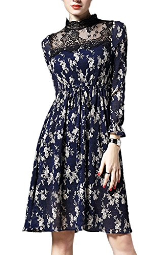 Smile YKK Femme Robe Chiffon Chemise Slim Impeimé Floral Bleu