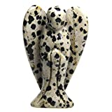 Estatua de gema con forma de ángel, 5 cm, Jaspe dálmata, Dalmatian...