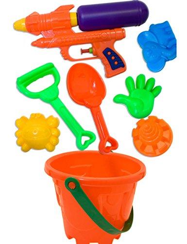 (HomeTools.eu Sandkasten Strand Spielzeug   Eimer + Schaufel, Rechen, Sand-Formen + Wasser-Pistole, Spritz-Pistole   rot, 8-teilig SET)