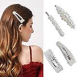 Haarspangen perlen, iFanze 4 stücke Haarklammern Eye-catcher Perlenhaarspange Haarnadeln Brauthaargriffe Haarschmuck Für Hochzeit