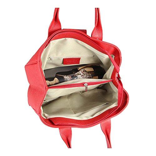 Made Italy, Borsa bowling donna 34x23x18 cm (BxHxT), Nero (nero), 34x23x18 cm (BxHxT) rosso