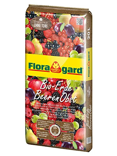 Floragard Bio-Erde BeerenObst ohne Torf 20 L • Spezialerde mit Kompost • für Erdbeeren, Brombeeren, Stachelbeeren, Säulenobst • mit Bio-Dünger • aus natürlichen Rohstoffen • torffrei - Bio-dünger 20 20 20