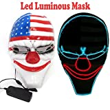 AnseeDirect Payday 2 Maske Horror Clown Masken LED Leuchtende Maske für Karneval Fasching Fastnacht Party Halloween