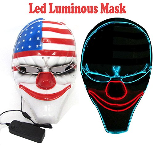 (AnseeDirect Payday 2 Maske Horror Clown Masken LED Leuchtende Maske für Karneval Fasching Fastnacht Party Halloween)