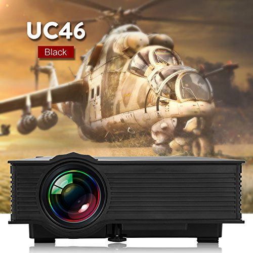 UC46 WIFI Mini Proyector Portátil LCD LED WEINAS® Multimedia USB / SD / AV / HDMI / VGA 1000 Lúmenes IP / IR / USB / SD / HDMI / VGA 1080p 1000+Lúmenes IP / IR / USB / SD / HDMI / VGA Proyector con Mando a Distancia para Cine Teatro en Casa, Oficina (Negro)