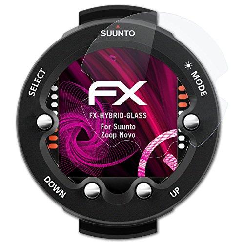 atFoliX Glasfolie kompatibel mit Suunto Zoop Novo Panzerfolie, 9H Hybrid-Glass FX Schutzpanzer Folie