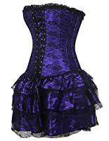 Burvogue Women's Gothic Boned Lace Corsets and Bustiers Dress with Skirt