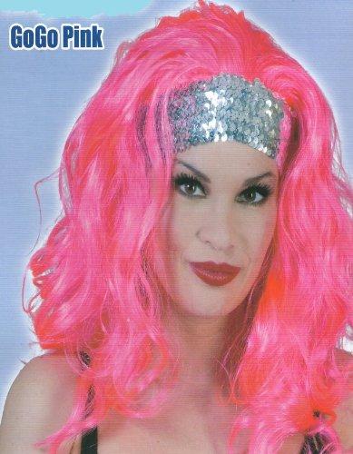 Lang-Haar-Perücke pink mit Stirnschmuck für Motto Party Fasching -