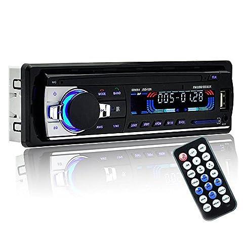 Poste Radio Voiture Autoradio USB / SD /MP3 Bluetooth Mains Libres FM Radio avec Télécommande 1 Din Noir
