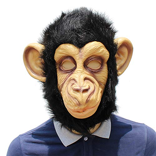 Kopf Gorilla Kostüm - BaronHong Cosplay Maske Latex Helm Dekoration Thema Party Requisiten Halloween Kostüm Zubehör Erwachsene für Gorilla Kopf (schwarz, M)