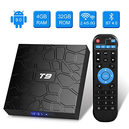 Android TV Box,T9 Android 9.0 TV Box 4 GB RAM / 32 GB ROM RK3318 Quad-Core unterstützt 2,4 / 5 GHz WiFi BT4.0 4K 3D HDMI DLNA Smart TV Box