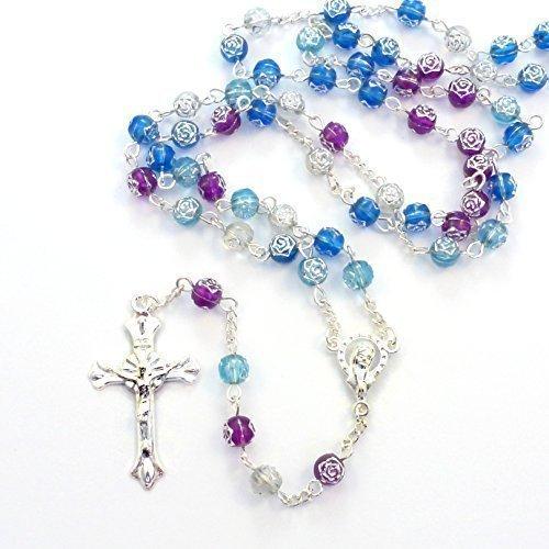 Rosa Blau Lila Blumen Kunststoff-Rosenkranz Halskette 56 cm Länge, - Rosa Blau Und Rosenkranz