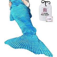 Meerjungfrau Decke, AM Seablue Handgemachte häkeln meerjungfrau flosse decke für Erwachsene, Mermaid Blanket alle Jahreszeiten Schlafsack Für Erwachsene