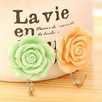 RICISUNG 2 x Lovely Coat Hat Robe Towel Hook Hanger Wall Mounted Rose Flower (green+orange)