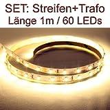 SET LED Strip Streifen WARMWEISS 1 Meter inkl. Netzteil PCB weis