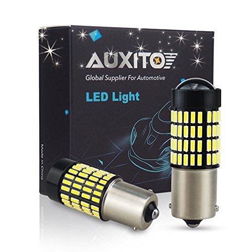 AUXITO 1156/BA15S LED Rückfahrlicht Auto Birnen, Extrem Hell 1400 Lumens 4014 102 SMD LED-Chipsätze mit Projektor, 6000K Xenon Weiß für Rückfahrscheinwerfer Ersatz (2 Stück) (Was Für Eine Helle Ersatz-birne)