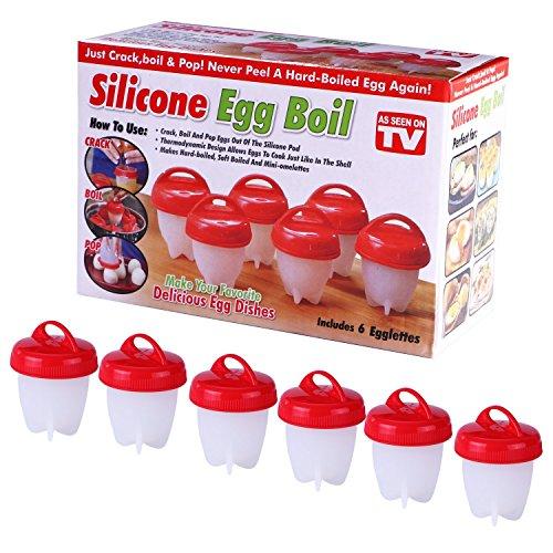 Senza BPA, in silicone antiaderente Egg boil- come visto in tv- uova sode senza il guscio duro (confezione da 6Egglettes)