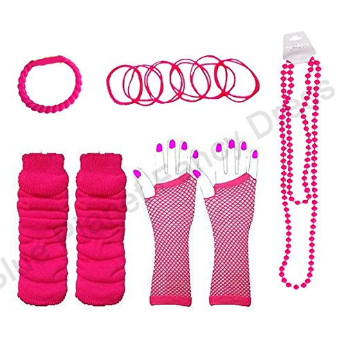 Neon Fishnet Gloves, Legwarmers, Bangles, Beads Necklace & FREE Bracelet (Neon Pink) - 5 colours available
