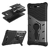 Coque Xperia XZ1 [Ultra Armor] Housse Etui TPU Silicone [Rotation de 360°]Double Couche protection Cover Kickstand Bumper Case pour Sony (Xperia XZ1, Noir)