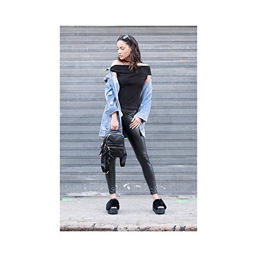Ideal Shoes - Claquettes à plateformes et fourrure Vincine Rose