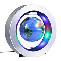 yuyte 4 Inch Magnetic Levitation Floating Balloon with LED, Antigravity Globe and Rotating World Map for Home Decor and Creative Gift and Geography Education
