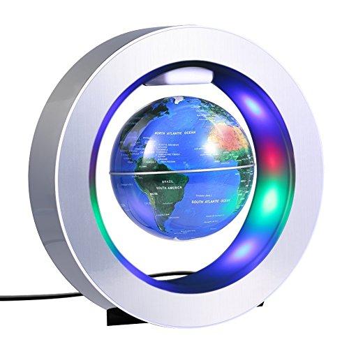 evitation Globe, 4 '' Circular Frame Schwimmende Rotating Levitating Globe O Form Anti-Gravity Bunte LED Weltkarte für Home Dekor Fashion Crafts Urlaub Geschenke ()