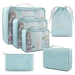 Koffer Organizer Reise Kleidertaschen, BROTOU 6 Stück Taschen Organiser für Kleidung, Schuhe, Unterwäsche, Kosmetik, Bücher, Süßigkeiten und andere Zubehör (Hellblau)