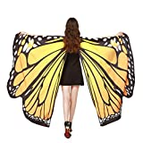 SHOBDW Butterfly Shawl, Women Girls Butterfly Wings Shawl Scarves Ladies Nymph Pixie Poncho Costume Party Photo Cosplay Accessory (1PC, #1-Orange (168x135cm))