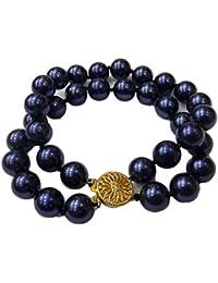 Schmuckwilly Muschelkernperlen Perlenarmband Perlen - Muschelkernperlen Armband 2-reihig blau Hochwertige mb0055