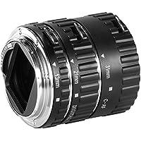 Neewer - Juego de tubos de extensión Macro autofoco para objetivo réflex y réflex digital Canon EOS (Extreme Close-Ups, negro, compatible con Canon EOS 1D, 1Ds II, III, IV, 5D II, 7D, 10D, 20D, 30D, 40D, 50D, 60D, Digital Rebel XT, xti, xs, xsi, t1i, t2i, t4i, t5i 300D, 350D, 400D, 450D, 500D, 550D, 650D, 700D, 1000D, bayoneta metálica), color negro