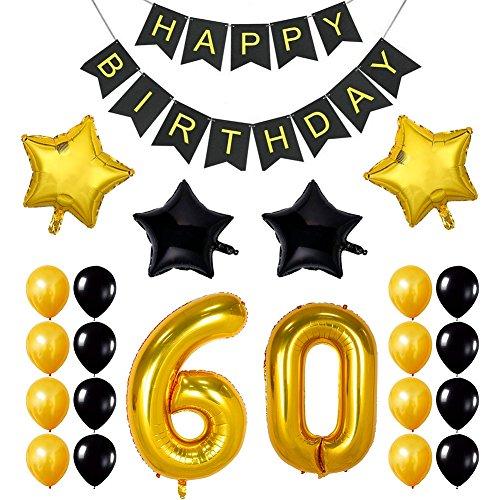 Ezeso 60th Birthday Theme Party Dekorationen Kit, Jubel zum 60. Geburtstag Banner, für 60 Jahre Alt Party Celebration Party Supplies,