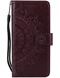 DENDICO Funda iPhone 6 / iPhone 6s, Funda de Cuero con Portatarjetas, Cartera Carcasa Plegable Cartera en Piel Premium para Apple iPhone 6 / iPhone 6s - marrón