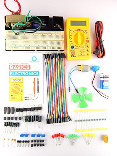 Robo India BOE-1 Electronics Kit with Breadboard Mount + Component Tray + Robo India S Basic of Electronics Handbook
