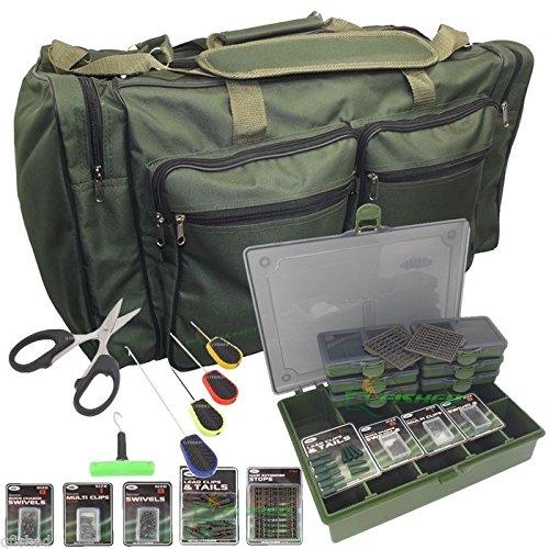 Generic 6Köder Set Karpfen Angeln groß Reisetasche Holdall Tackle Bag + Tackle Box & termial Tackle Set 1x Stringer Nadel Tackle Box Set < 1& 1437* 1>