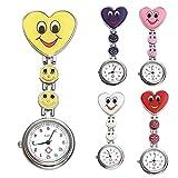JSDDE Uhren,5x Krankenschwester FOB-Uhr Herz Lächeln Emoticon Damen Mädchen Schwesternuhr Taschenuhr Quarzuhr Uhren Set