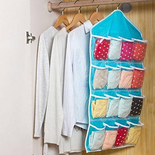 16 Taschen Tür/Kleiderschrank Quilt-Schuhregal, Haken, Unterwäsche, BH, Socken, Schrank-Organizer Free Size blau (Quilt Tasche)