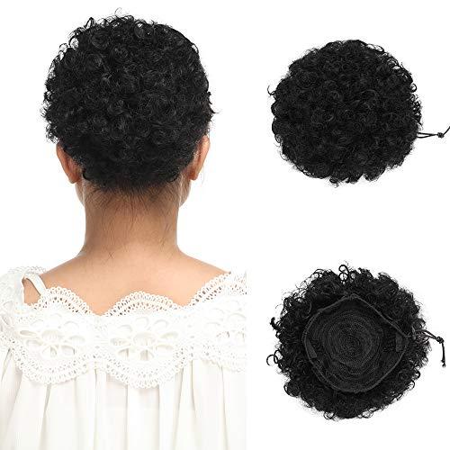 Extension chignon elastico con clip [nero scuro] capelli messy veri ricci sintetici updo bun hair scrunchies ponytail extension cordoncino calore resistente 65g