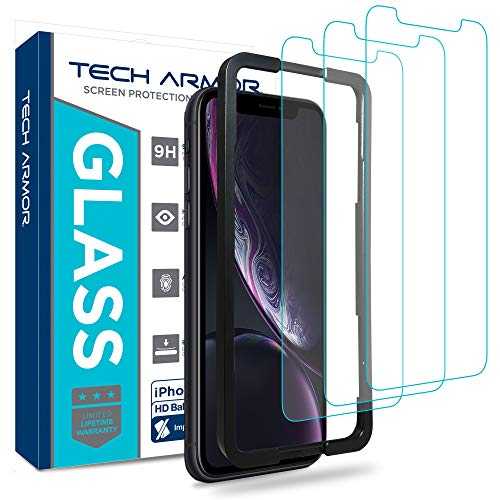 Tech Armor Apple iPhone Xr Ballistic Glass Screen Protector [3-Pack] Case-Friendly Tempered Glass, Haptic Touch Accurate Designed for New 2018 Apple iPhone Xr Apple Iphone Armor Case
