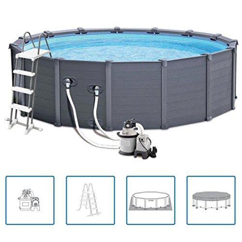 Zora Walter Outdoor Garden Graphit Panel Pool 478 cm PVC 16805 L 28382GN Schwimmbecken Swimming Pool