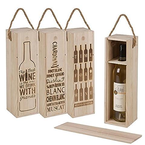 Lot de 3bouteille de vin Coffret cadeau en bois vintage Présentation