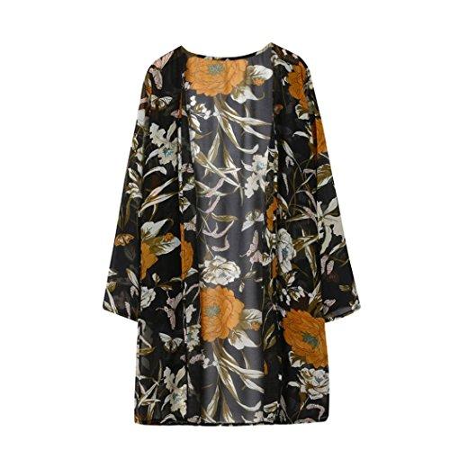 Bellelove Damenmode Blumendruck Bluse Chiffon Long Sleeve Strickjacke Tops (Schwarz, L) (Chiffon Knielangen Kleid)