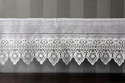 Gardine Landhaus Leinen Shabby Chic Vintage Baumwolle Spitze 30Hx80B