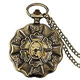 Lancardo Damen Herren Taschenuhr, Retro Openwork Blumen Form 12\24H Quarz Uhr mit Halskette Kette Pocket Watch Kettenuhr, bronze
