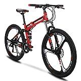 Extrbici G4 Vélo De Montagne 21 Cadre en Acier De Vitesse 26 Pouces Roues Vélo Pliant À Suspension (Red)