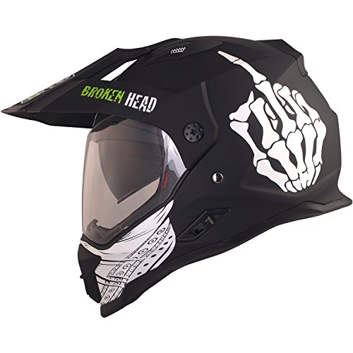 Broken Head Street Rebel Cross-Helm grün mit Visier | Enduro-Helm - MX Motocross Helm mit Sonnenblende - Quad-Helm (M 57-58 cm)