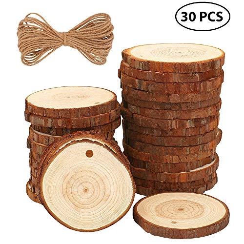 Bastelholz, Holzscheiben, 30 Stück, unlackiert, vorgebohrt, mit Holzkreisen