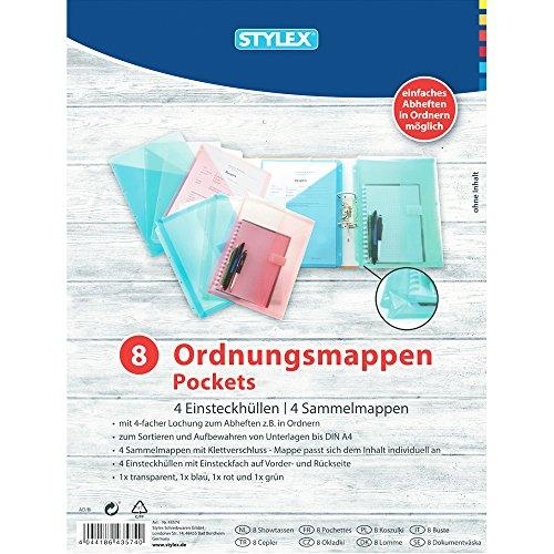STYLEX 43574 Ordnungsmappen-Set, 8-teilig, bestehend aus: 4 Sammelmappen und 4 Einsteckhüllen