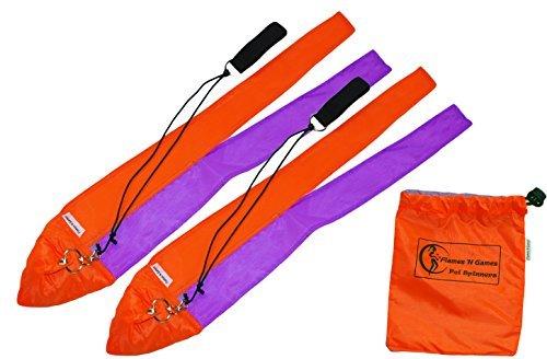 Kinder-Poi- / Eidechsen-Spielzeug - Poi aus kurzen Stoffteilen für die Praxis (UV, orange / lila), drehendes Poi von Flames N Games + Reisetasche -