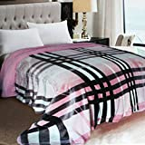 The Home Talk Multicolor/Pink Warm Multi-purpose Dohar Or Quilt/Duvet/Comforter/Dohar Cover(double Bed), Best For Heavy Winters, Zipper Closure, Ultra-soft, Bright Colors, Full Size- PINK (Burberry Design)